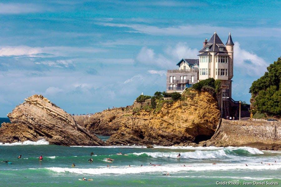 La Côte des Basques et la villa Belza, à Biarritz (Pyrénées-Atlantiques)