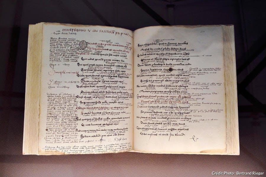 Cahier d'écolier de Beatus Rhenanus exposé à la bibliothèque humaniste de Sélestat (Alsace)
