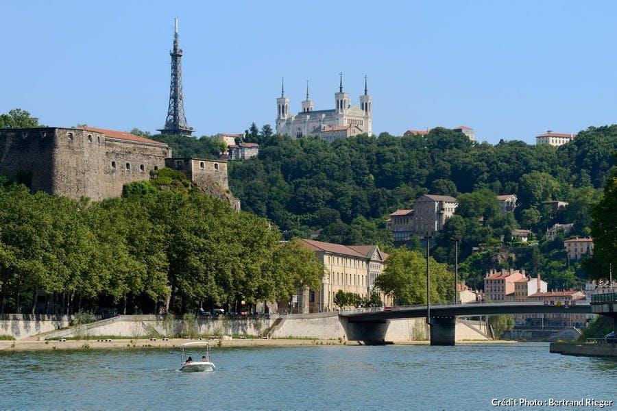 Quartier de la Croix-Rousse derrière la Saône, à Lyon (Rhône-Alpes)