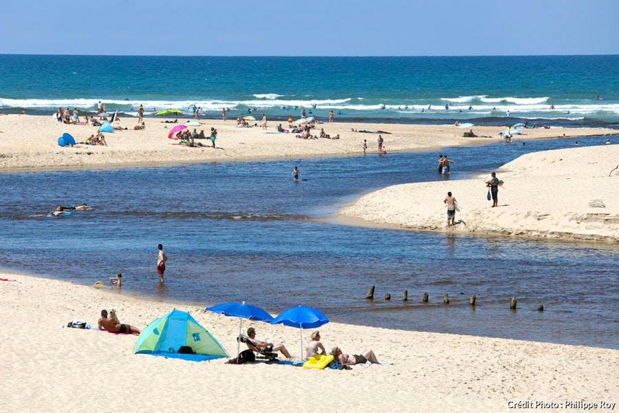 Le courant d'Huchet et la plage des Moliets (Landes)
