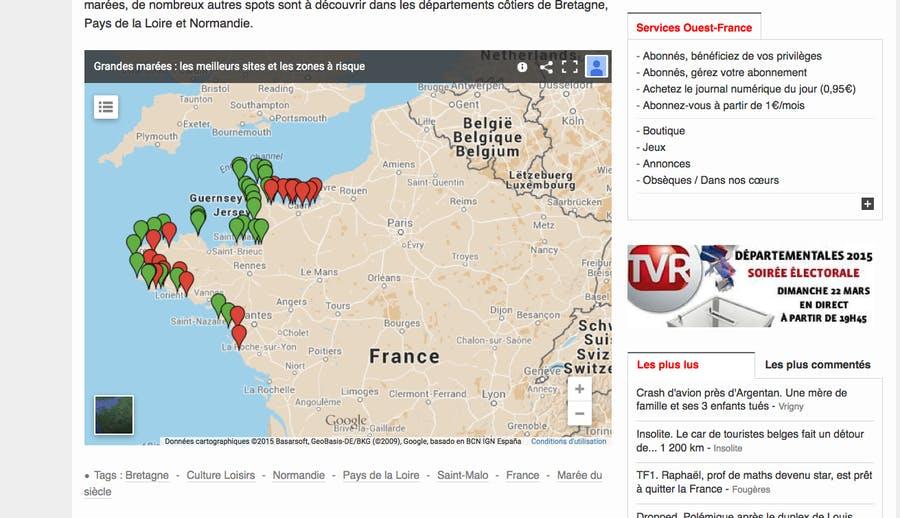 Carte des meilleurs sports pour observer la grande marée