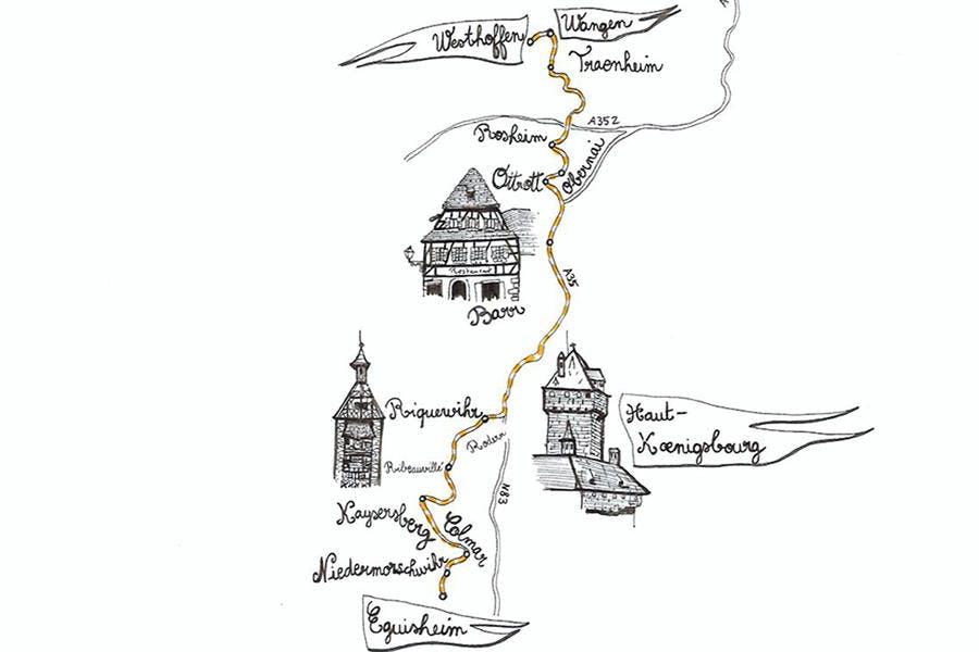 Carte Alsace Avec Camping.Alsace Circuit Touristique Sur La Route Des Vins Detours