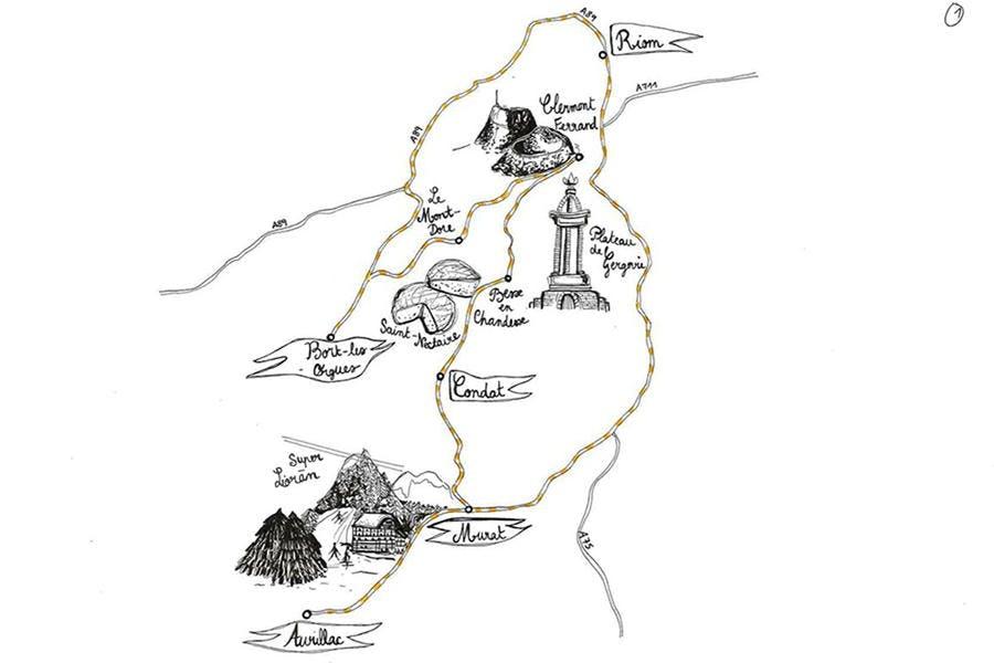 Plan des nombreux circuits d'Auvergne disponibles