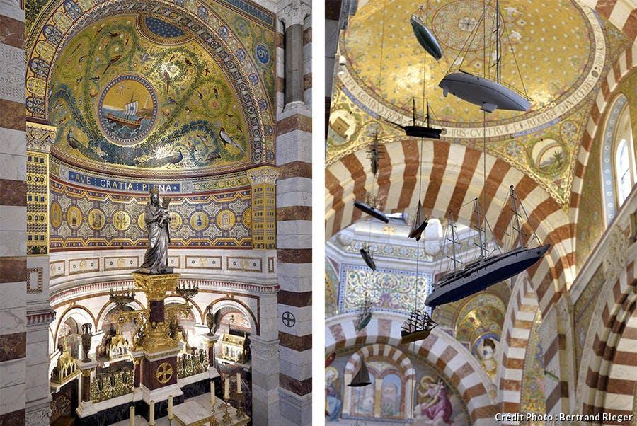 Détails de l'intérieur de Notre-Dame de la Garde : la vierge et l'enfant et les bateaux suspendus