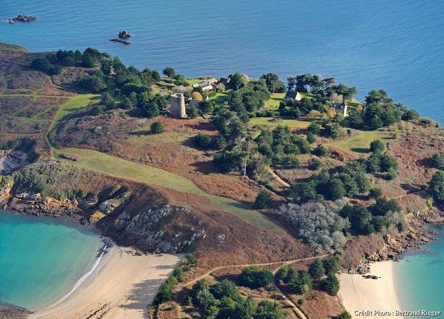 Les Ébihens, vue aérienne de l'île