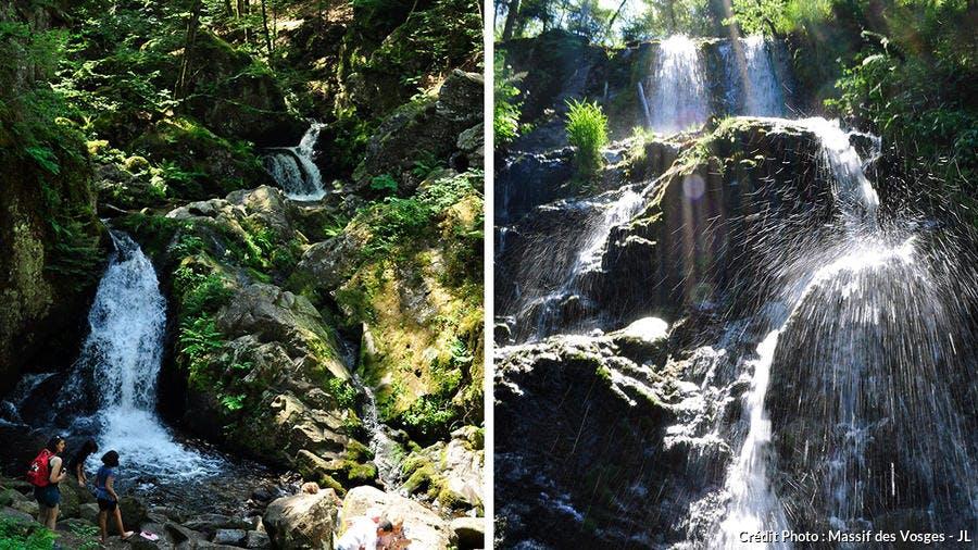 La Petite et la Grande cascade de Tendon dans les Vosges