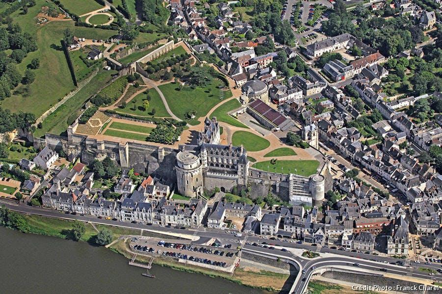 Le château d'Amboise vu du ciel