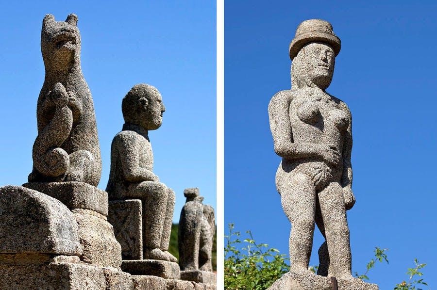 Des statues d'Hommes et d'animaux dans la commune de Fransèches