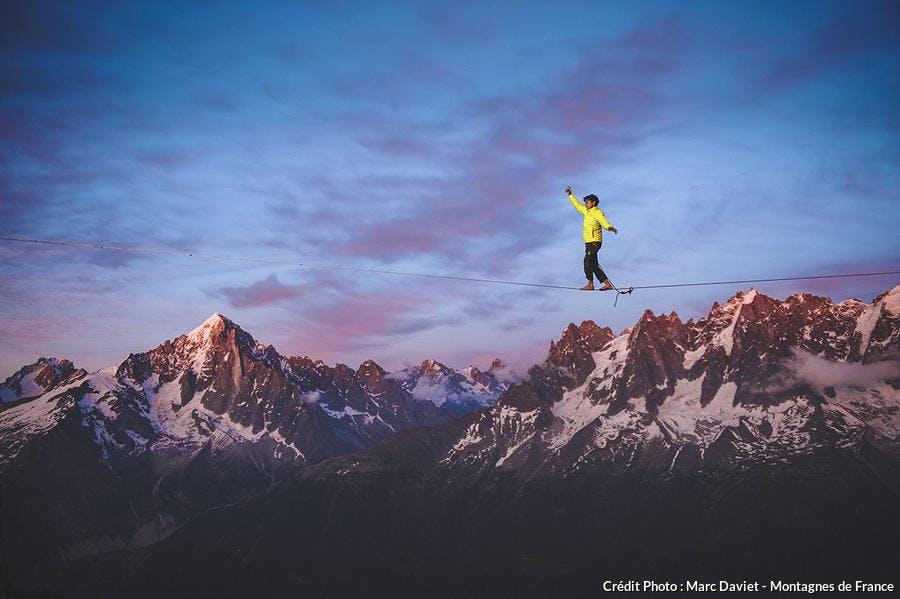 Highline dans le massif des Aiguilles-Rouges - Haute-Savoie