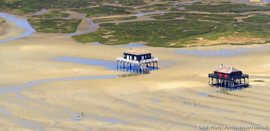 L'île aux Oiseaux et ses cabanes tchanquées dans le bassin d'Arcachon (Gironde)