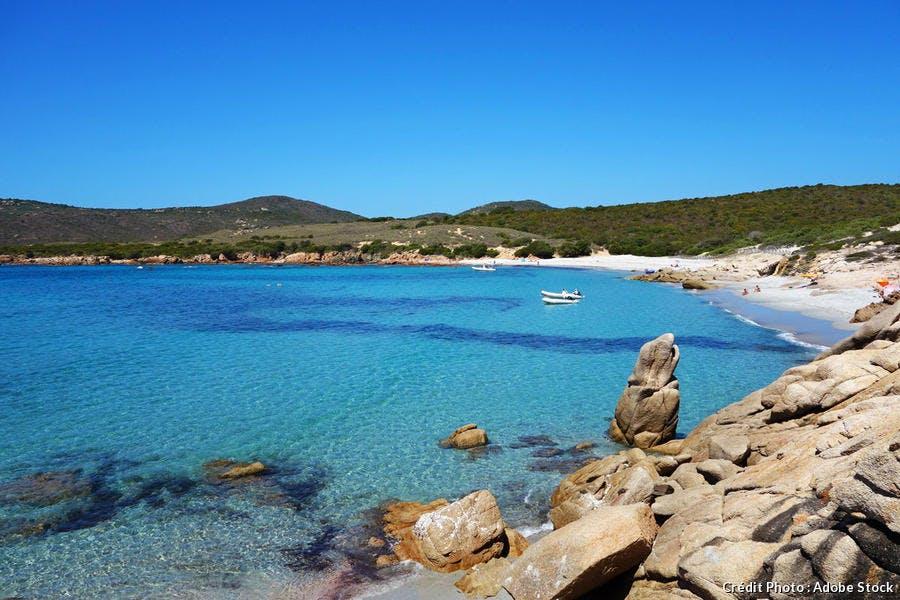 La plage d'Argent en Corse-du-Sud