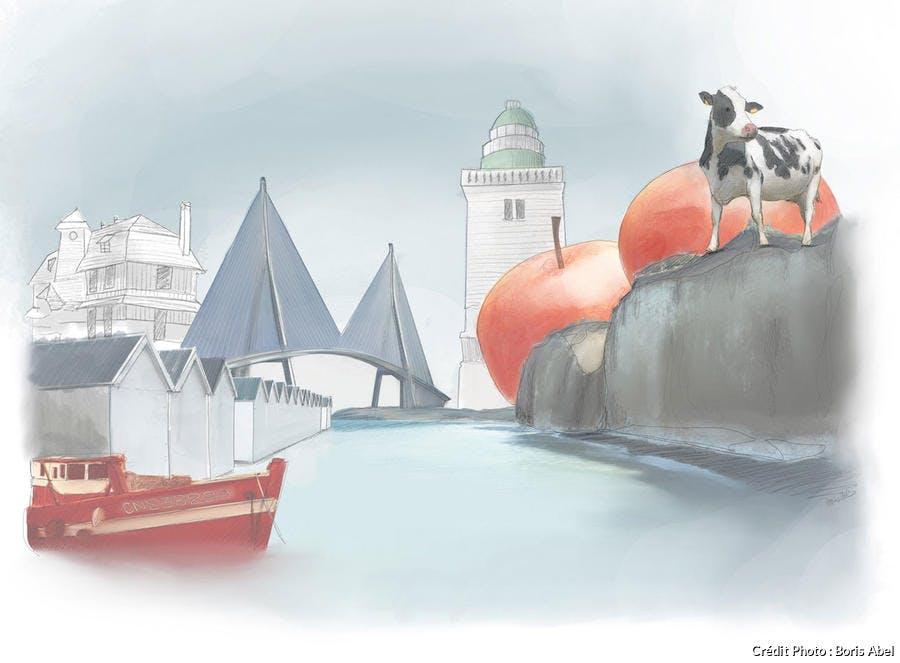 Illustration réalisée par Boris Abel pour l'épisode Normandie du podcast La France Baladeuse