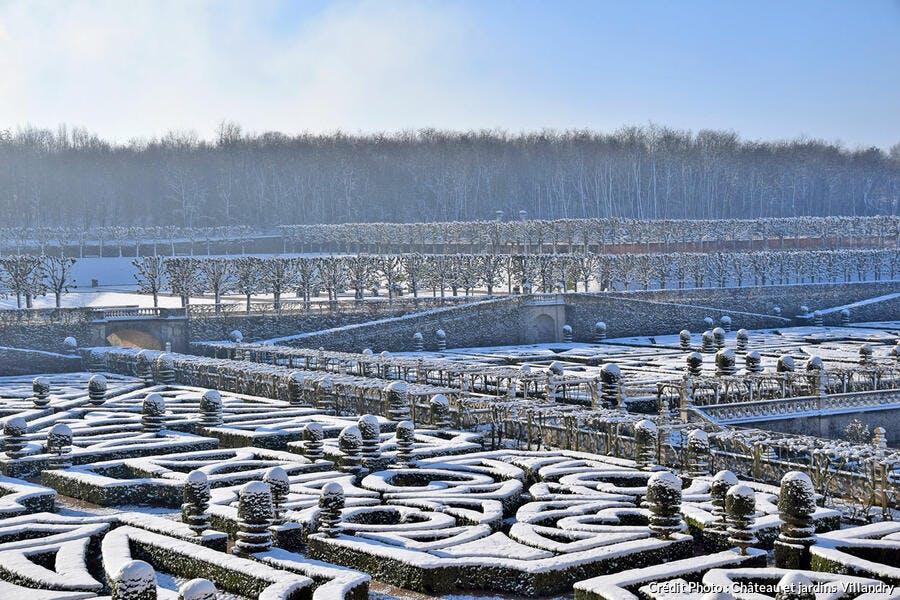 Jardins de Villandry sous la neige