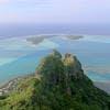 Lagune de l'ile de Maupiti en Polynésie française vue du ciel